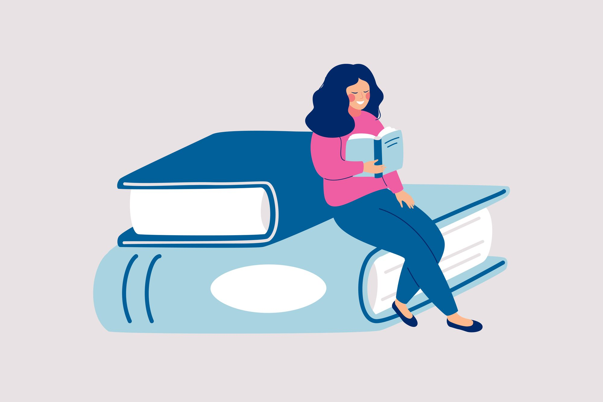Illustration of a blue haired woman reading a book, sitting on top of books