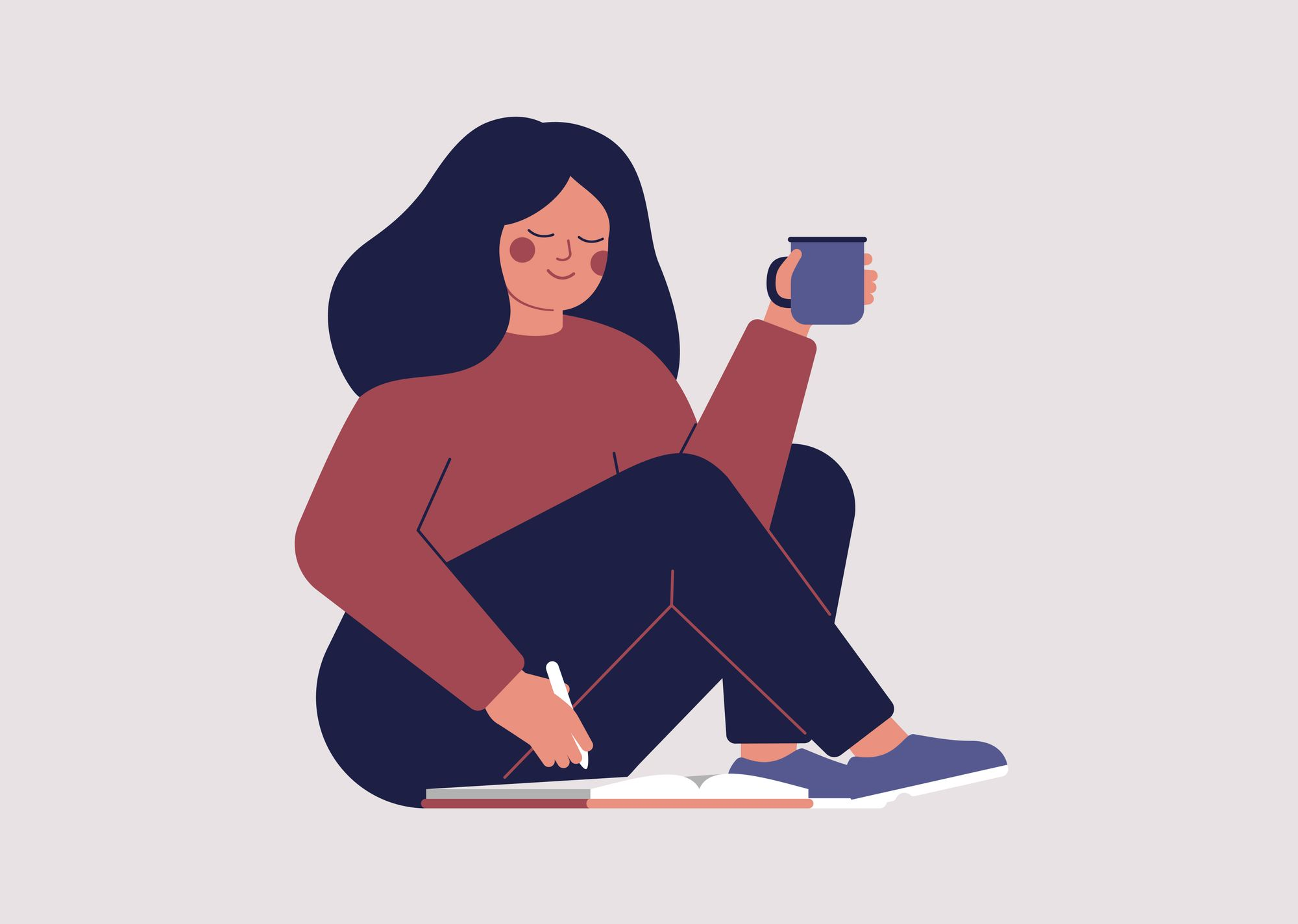 Illustrated woman sitting on the floor with a book making a list in a notebook. She is holding a cup or something. Possibly coffee of tea.