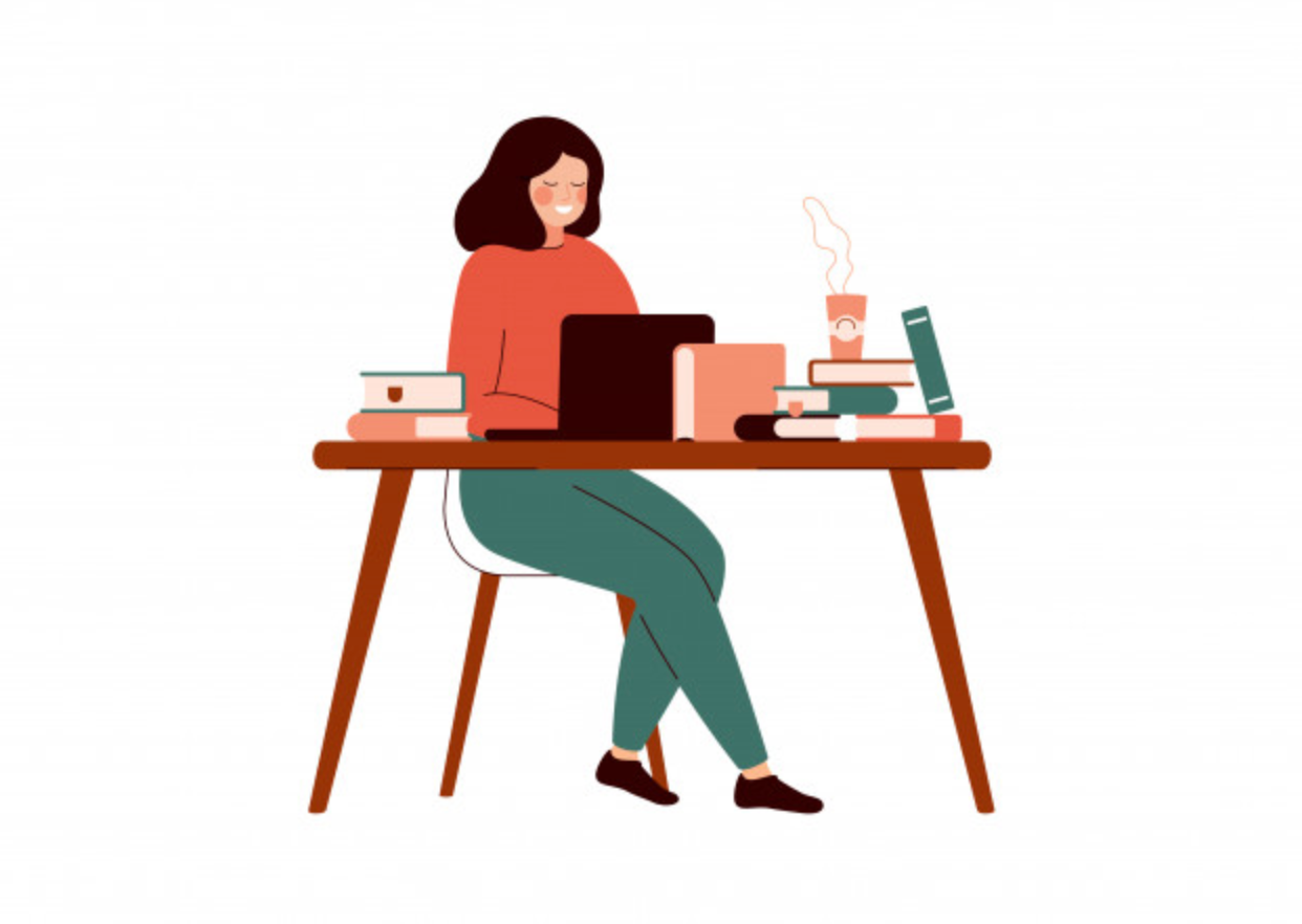 Illustrated image of a woman sitting at a cluttered desk. Desk has books and a laptop on it and there is a hot coffee beside her