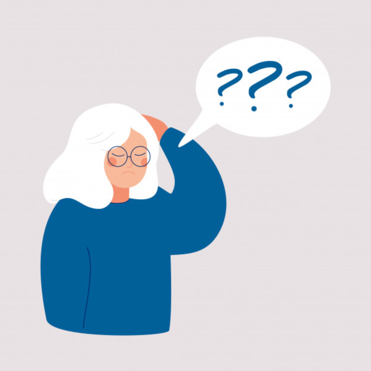 Illustration of an elderly woman with white hair thinking about things. She seems confused.
