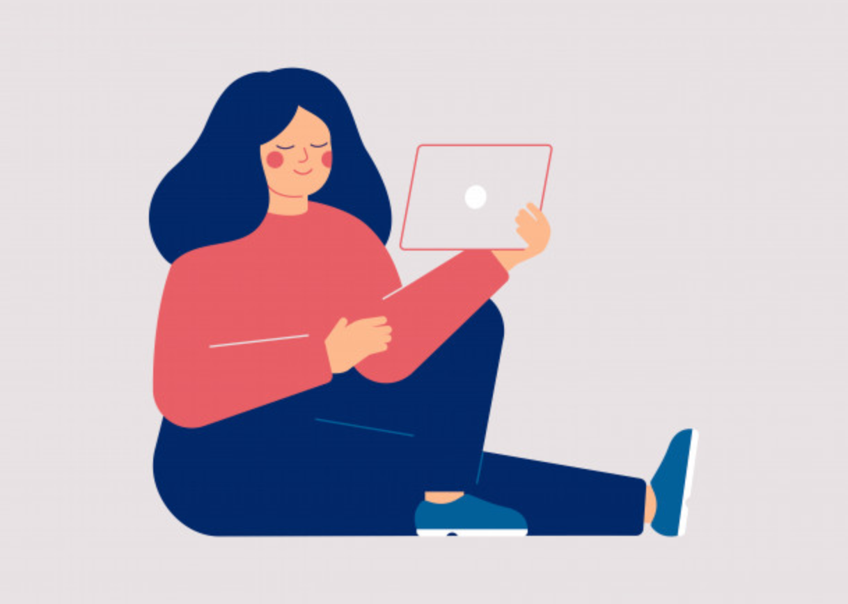 Illustration of a woman sitting on the floor in a relaxed style reading on an ipad.