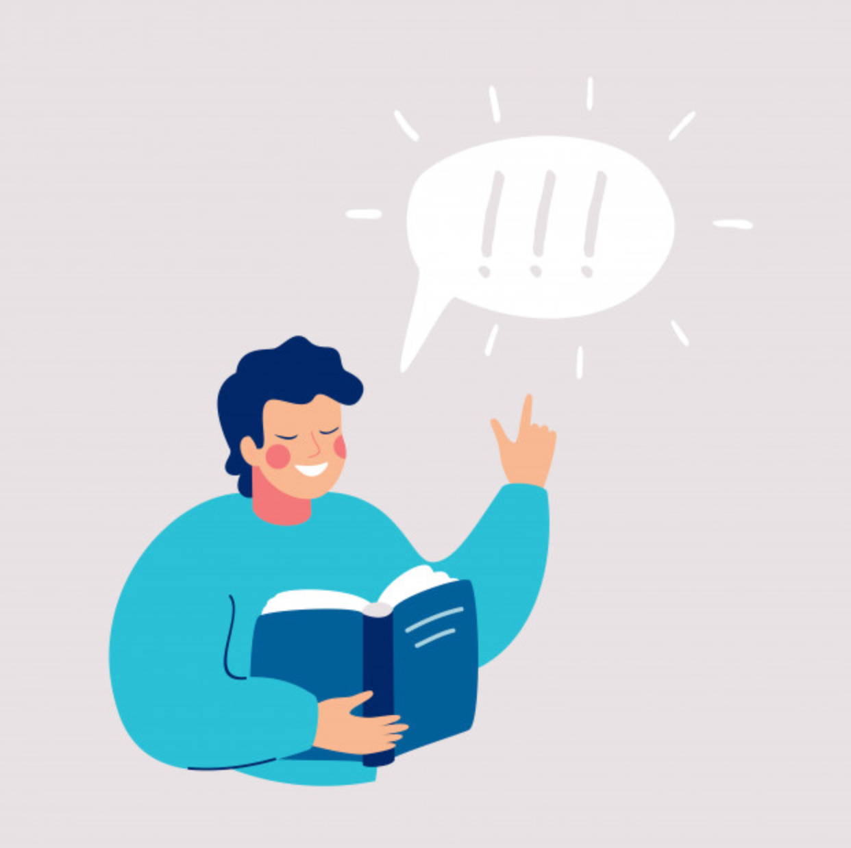 Image of an illustrated man holding a book, speaking out loud. There is a speech bubble with asterisks in it.